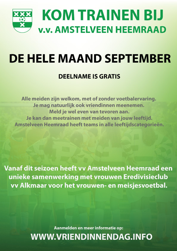 Flyer Open trainingen meisjesvoetbal Amstelveen Heemraad